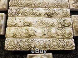 104 Antique Art Nouveau Majolica Architectural Tile Set Green Floral Art Tile