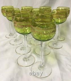 (11) St Louis Crystal STL22 Chartreuse Gold Encrusted 7.375 Inch WINE HOCKs
