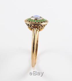 14k Gold Arts & Crafts Style Green Plique A Jour Enamel Cabochon Opal Ring