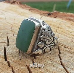 1890's Antique Art Nouveau Green Jade Sterling Silver Repousse Chestnut Ring