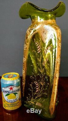 1890's MOSER Art Nouveau Rare Blown Twisted Vase Enameled & 22K Gold 14 Tall