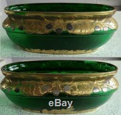 1900 1925 LEGRAS MONT JOYE art nouveau green Glass Jardiniere