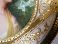 1900's Dresden Richard Klemm hand painted portrait on porcelain Azalee Kiesel