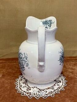 1905 Buffalo Pottery Ironstone Wash Basin and Pitcher Green Chrysanthemum