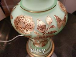 1930s Satin Green Glass Hand Painted Gold Guilted Table Lamp