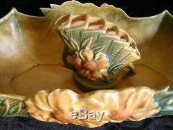1942 Art Pottery Roseville Peony 14 Console Bowl #433 withFlower Frog #47