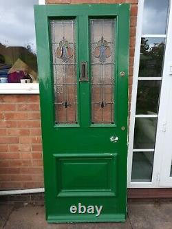 199x 80.5 X 44.5cm Victorian Front Door Art Nouveau Stained Glass Vintage
