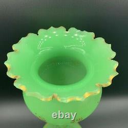 19th C. Bohemian Uranium Art Glass MOSER Green Opaline Footed Vase Gilt Enamel
