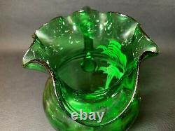 19th Century Victorian Mary Gregory Hand Blown Enamel Decoration Glass Pitcher