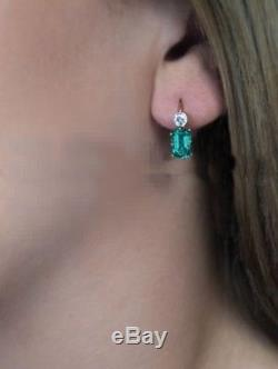 1.9 Green Emerald Diamond Vintage Art Deco 14K Gold Over Antique wedding Earring