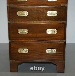 1 Of 2 Harrods Kennedy Chest Of Drawers With Green Leather Writing Slope Desk