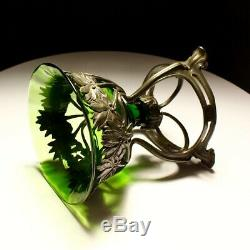 20th Century Art Nouveau WMF Pewter & Glass Vase C1900