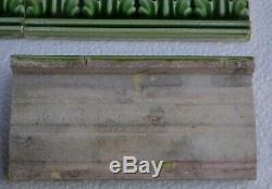 21 GREEN HIGH RELIEF BORDER TILES 6x3 ARTNOUVEAU MAJOLICA c1900