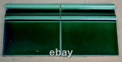 26 ANTIQUE ART NOUVEAU PERIOD MAJOLICA FLOOR ENDING TILE GREEN c1900