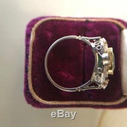 2.07Ct Asscher Green Diamond In 14K Gold Over 5 Stone Halo Art Deco Wedding Ring