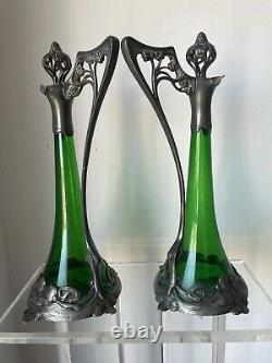 2 WMF Silverplate Green Crystal Pitcher Jugs Ladies Jugendstil Art Nouveau Deco