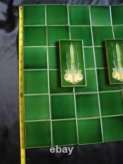 38 Art Nouveau Antique Vintage Ceramic Green Iridescent Tiles Architectural