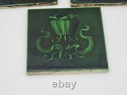 5 Antique Original H & R Johnson Art Nouveau Émaux Ombrants Tiles 1904