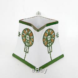 5 Porcelain Pitcher, Green, Gold France Limoges, Hand Painted Signed Maud Myers