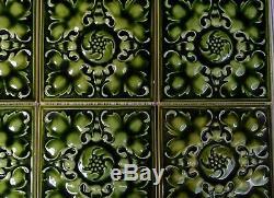 6 Antique Pilkington's England Art Nouveau Majolica Tile C1900