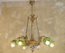 6 Light Art Nouveau Cherubs Chandelier Brass Satined Green Glass Lamp