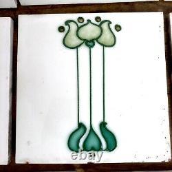 8 Original reclaimed Art Nouveau lily tiles