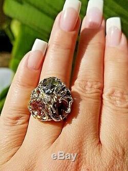 9.07TCW Art Nouveau Biomorphic VS Diamond Multi Tourmaline 14k heavy ring