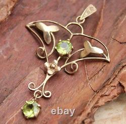 9ct Gold Pendant Peridot Art Nouveau Style Look Jewellery 9 Carat 9K #2 Green