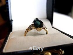ANTIQUE 10K 2-tone YELLOW GOLD RINGNATURAL GREEN TOURMALINE & DIAMONDS
