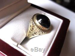 ANTIQUE 14K WHITE GOLD FILIGREE RING with NATURAL GREEN TOURMALINE, ART DECO