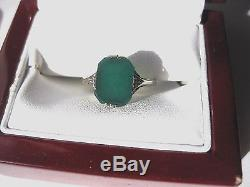 ANTIQUE 14K YELLOW GOLD FILIGREE SIGNET-RING withNATURAL GREEN AGATE, ART NOUVEAU
