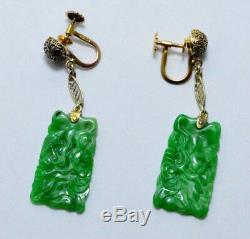 ANTIQUE 14k Gold Art Deco Carved Filigree Green Jade Jadeite Floating Earrings