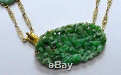 ANTIQUE 14k Gold Art Deco Carved Filigree Green Jade Jadeite Necklace 16