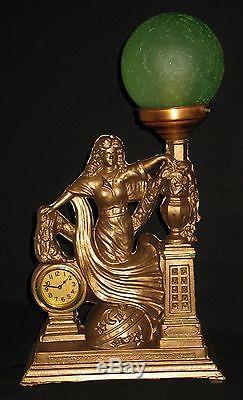 ANTIQUE ART NOUVEAU MANTLE/SHELF/TABLE LAMP withCLOCK GREEN CRACKLE GLASS GLOBE