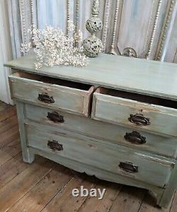 ANTIQUE Art Nouveau Rustic GREEN Painted Shabby Chic Chest of 2 Over 2 Drawers