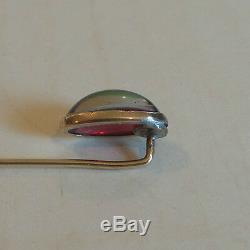 ANTIQUE ESTATE 14K GOLD STICK PIN with PURPLE CABOCHON STONE w GREEN VERTICAL BAND