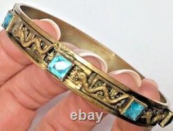 ANTIQUE Neiger Czech Green Blue AQUA Glass 8 SNAKES JEWELED Bangle Bracelet