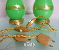 ANTIQUE VICTORIAN PAIR TABLE LAMP GREEN OPALINE VASELINE GLASS 19th ART NOUVEAU