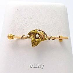 ART NOUVEAU 14K ROSE & GREEN GOLD FRENCH GRAPE LEAF SEED PEARL BROOCH PIN 3.3gr