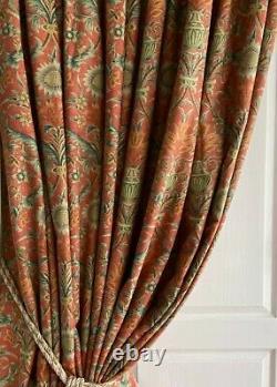 ART NOUVEAU Blanket Interlined Curtains 102w 142d 11ft+ Extra Long 2 PRS Avl