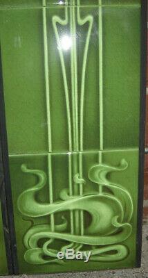 ART NOUVEAU FIREPLACE TILE SET (2 X 5 TILE PANELS) REF AN 25 green