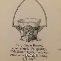 ART NOUVEAU Jugendstil WMF SILVER PLATED CHERUB GREEN GLASS INSERT SUGAR Basket
