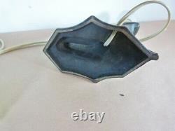 ART NOUVEAU KNEELING WOMAN Green Satin Glass METAL LAMP 13 TALL unbranded