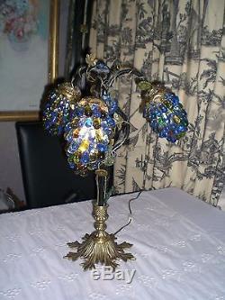 Art Nouveau Lamp With 3 Czech Grape Cluster Shades Antique