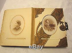 ART NOUVEAU PHOTO ALBUM COPPER 3D EMBOSSED DOVES BIRDS LILIES DRAGONFLY 1900, s