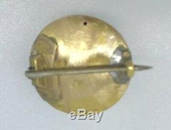 ART NOUVEAU brooch Pin costume yellow metal amethyst glass textured green tiny