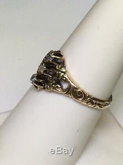 ART NOUVEAU (ca. 1904) 14K Rose Gold & Green Gold Rose Cut Diamond Ring (7 3/8)