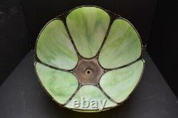 ATQ 13 VICTORIAN ART NOUVEAU CURVED SLAG STAINED GLASS LAMP SHADE GREEN 6 Panel