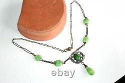 ATQ ART NOUVEAU Fish Monster Green Agate Sterling Silver Necklace FNC