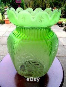A Beautiful Rare Victorian Green Etch Duplex Oil Lamp Shade